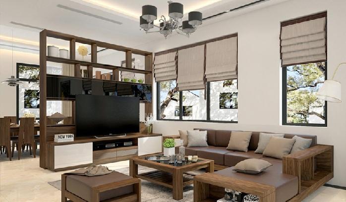 Mẫu nội thất phòng khách bằng gỗ tự nhiên hiện đại năm 2019