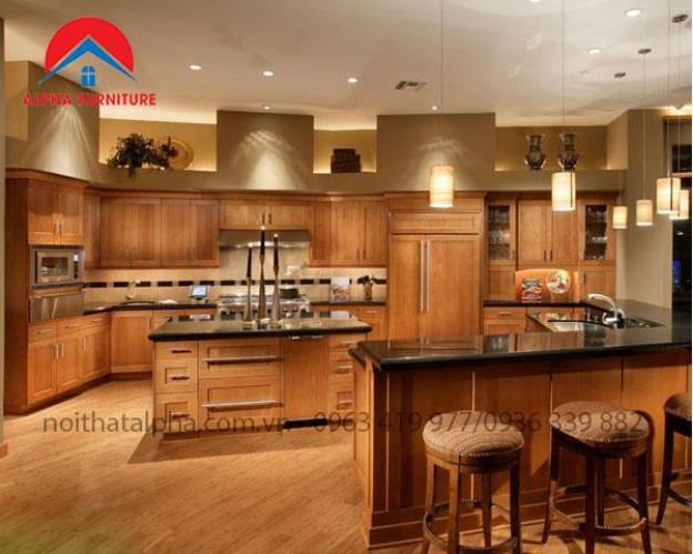 Tủ bếp gỗ sồi Mỹ - sản phẩm tiện ích dành cho những bà nội trợ