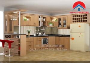 Tủ Bếp Gỗ Sồi Nga MS08