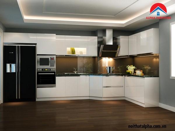 Mẫu Tủ bếp Aclylic không đường line 027