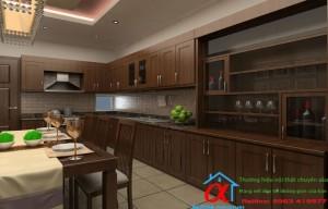 Tủ Bếp Gỗ óc chó 001