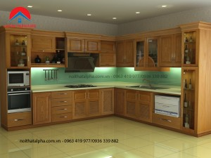 Tủ Bếp Gỗ Sồi Nga MS07
