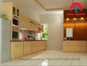 Tủ Bếp Gỗ Sồi Mỹ MS04