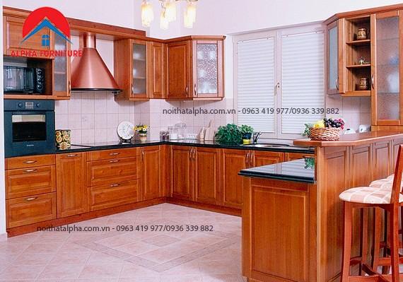 Tủ Bếp Gỗ Xoan Đào MS14- Cô Lương Ba đình