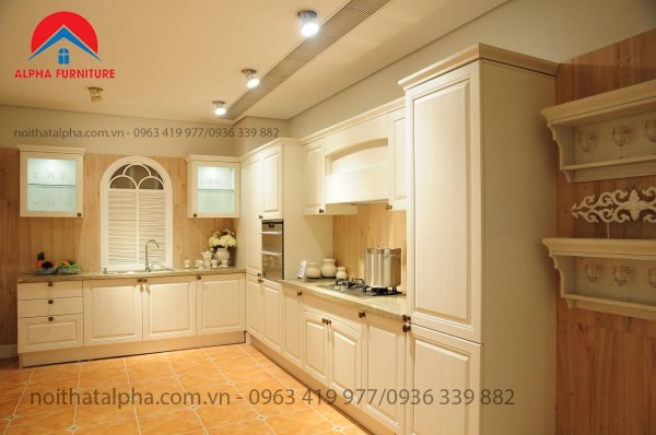 Tủ Bếp Gỗ Sồi Mỹ MS02