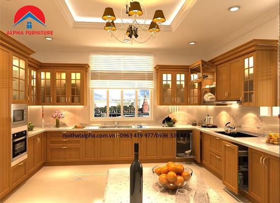 Tủ Bếp Gỗ Xoan Đào MS10