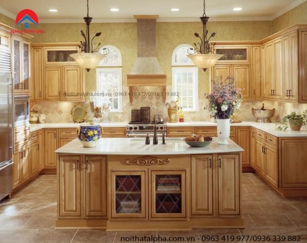 Tủ Bếp Gỗ Sồi Mỹ MS05