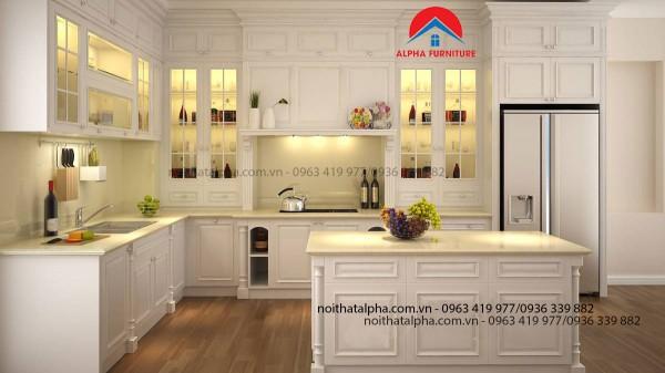 Tủ Bếp Gỗ Sồi Nga MS05