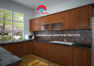Tủ Bếp Gỗ Xoan Đào MS02