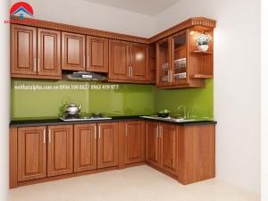 Tủ Bếp Gỗ Xoan Đào MS01-Nhà chú Hùng Chung cư An Bình