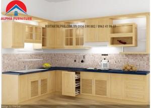 Tủ Bếp Gỗ Sồi Nga MS22-Nhà chị An- Hoài Đức